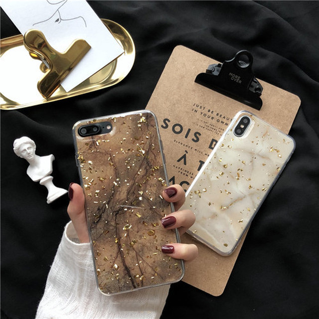 Marble gold flakes iPhone case