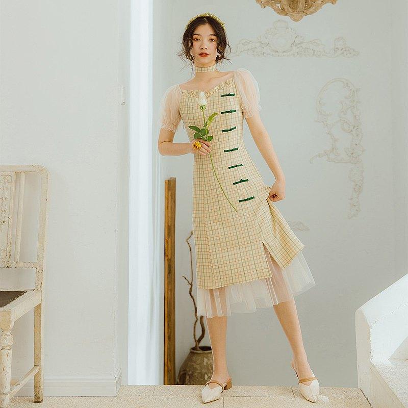 Plaid Mesh Yarn Improved Cheongsam Dress