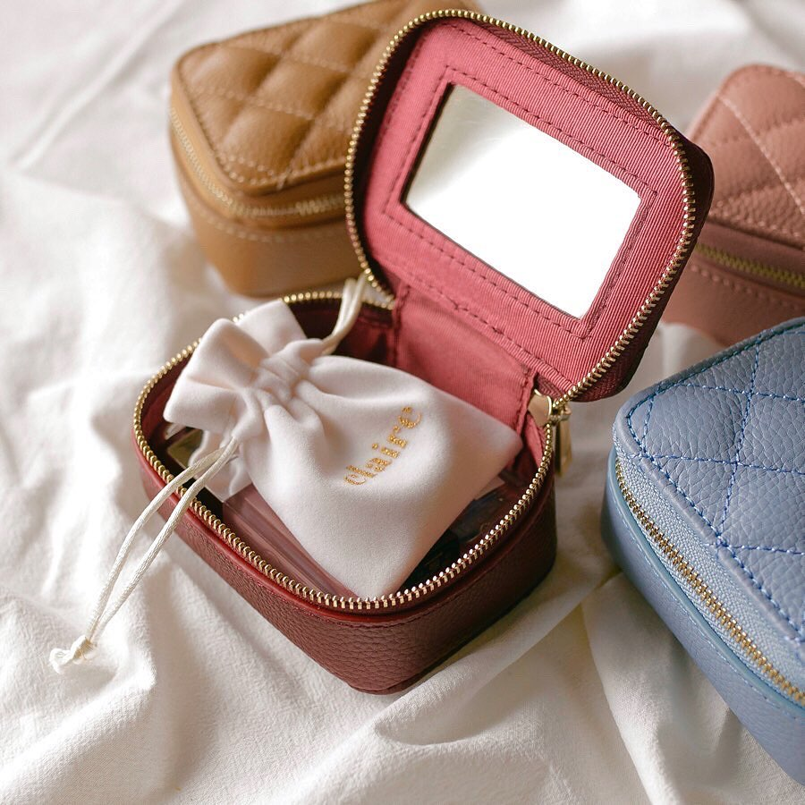 real leather zipper multi case