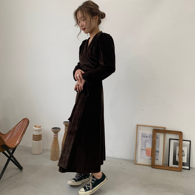 Brown velor one-piece