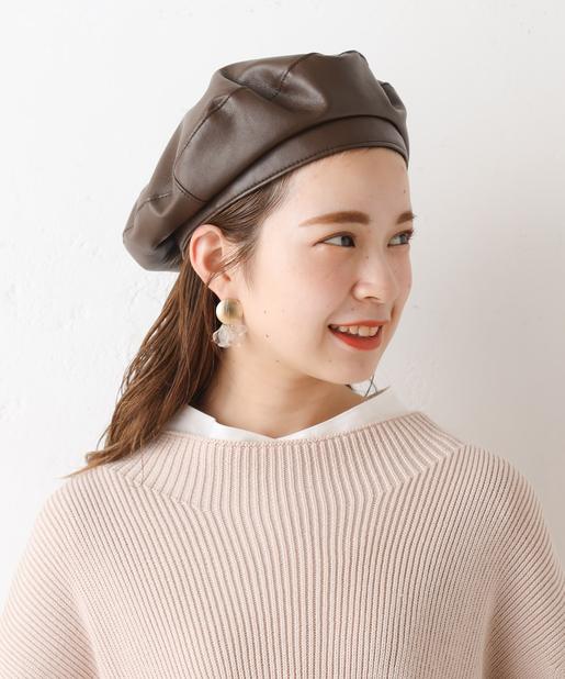 フェイクレザーベレー帽