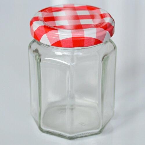 ジャム瓶 赤白チェック