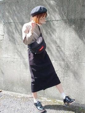 ベージュワッフル×スカート