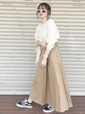 白ワッフル×スカート