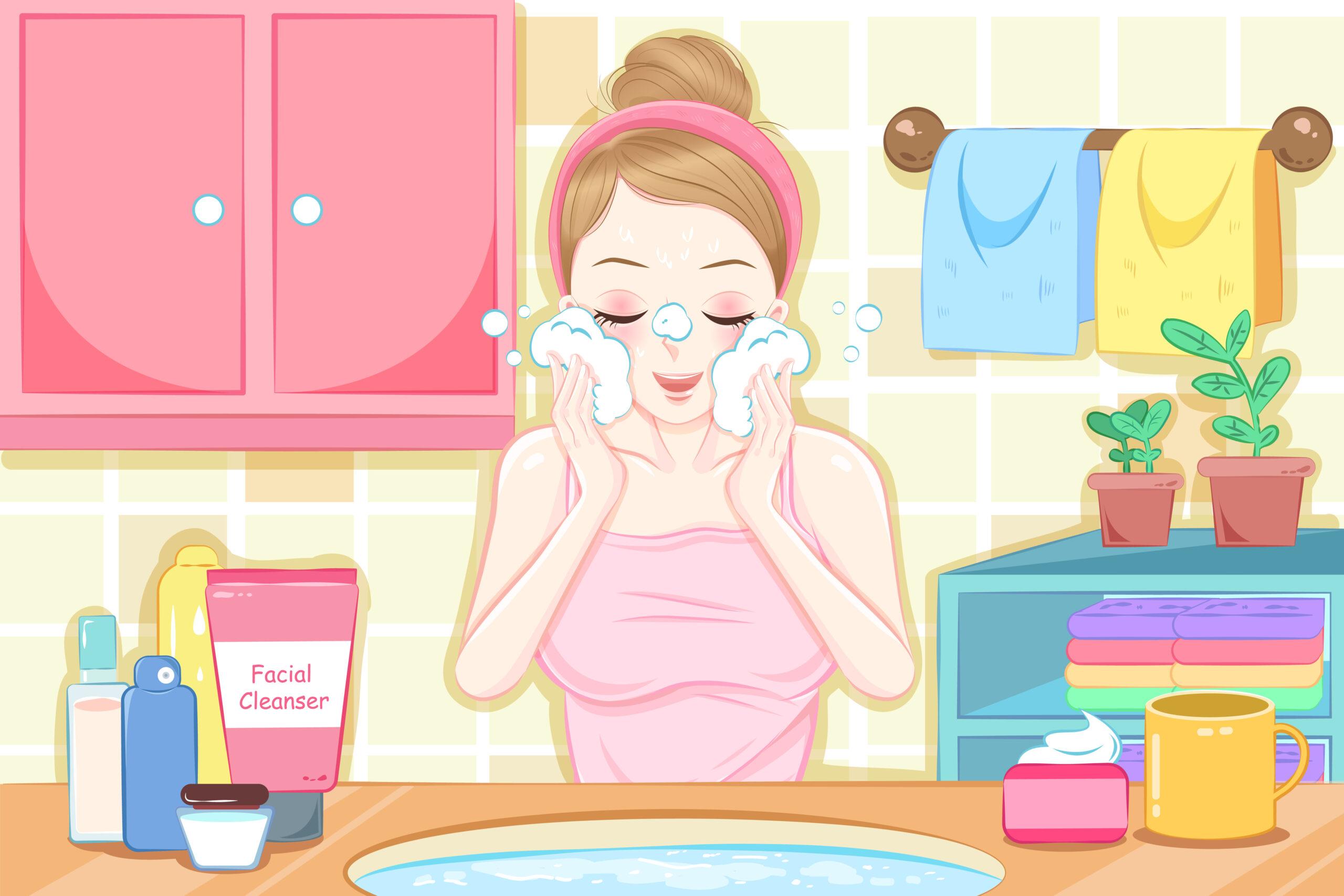普段以上に念入りな洗顔を心がけよう
