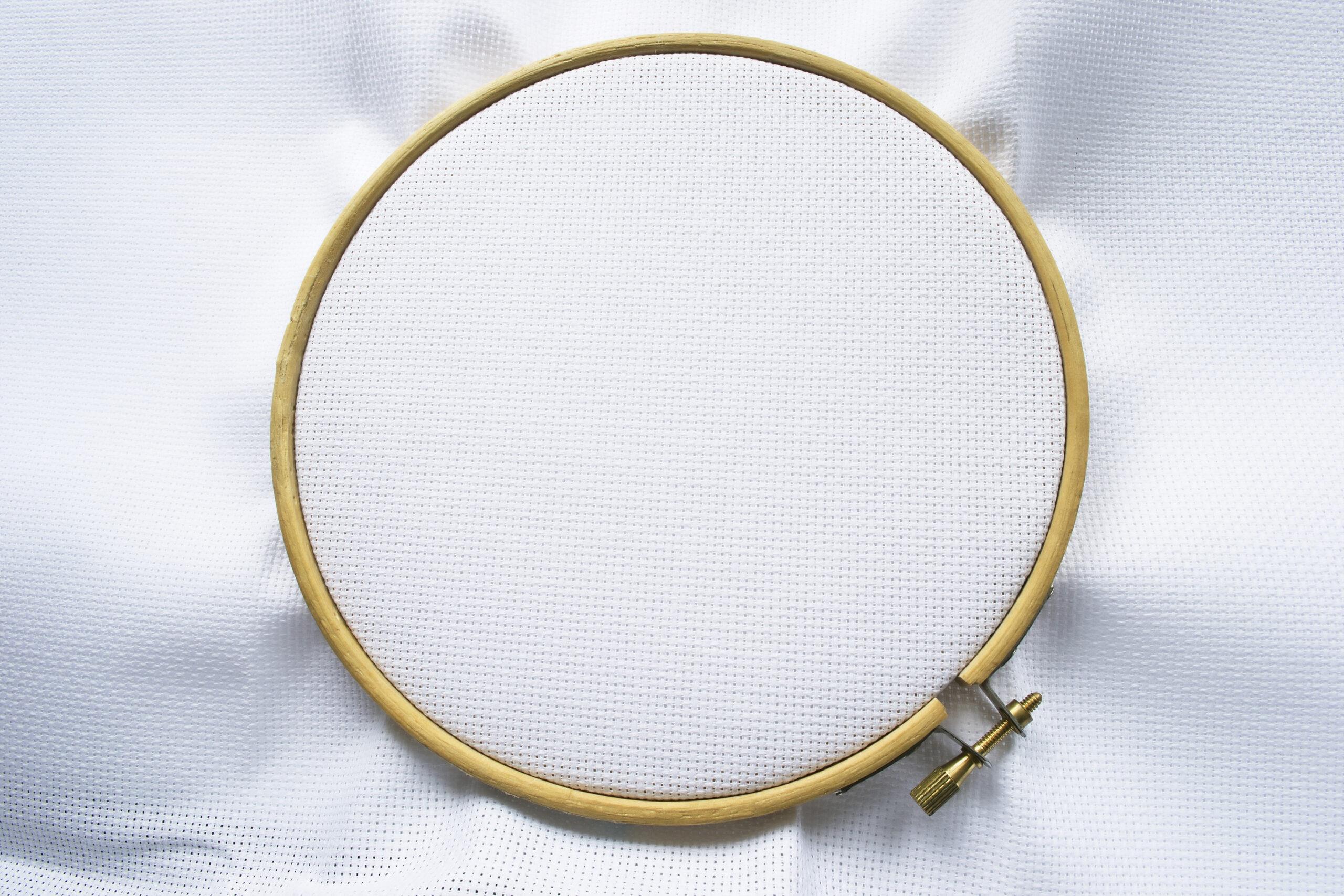 step2:刺繍枠で絵の周りの布を挟む