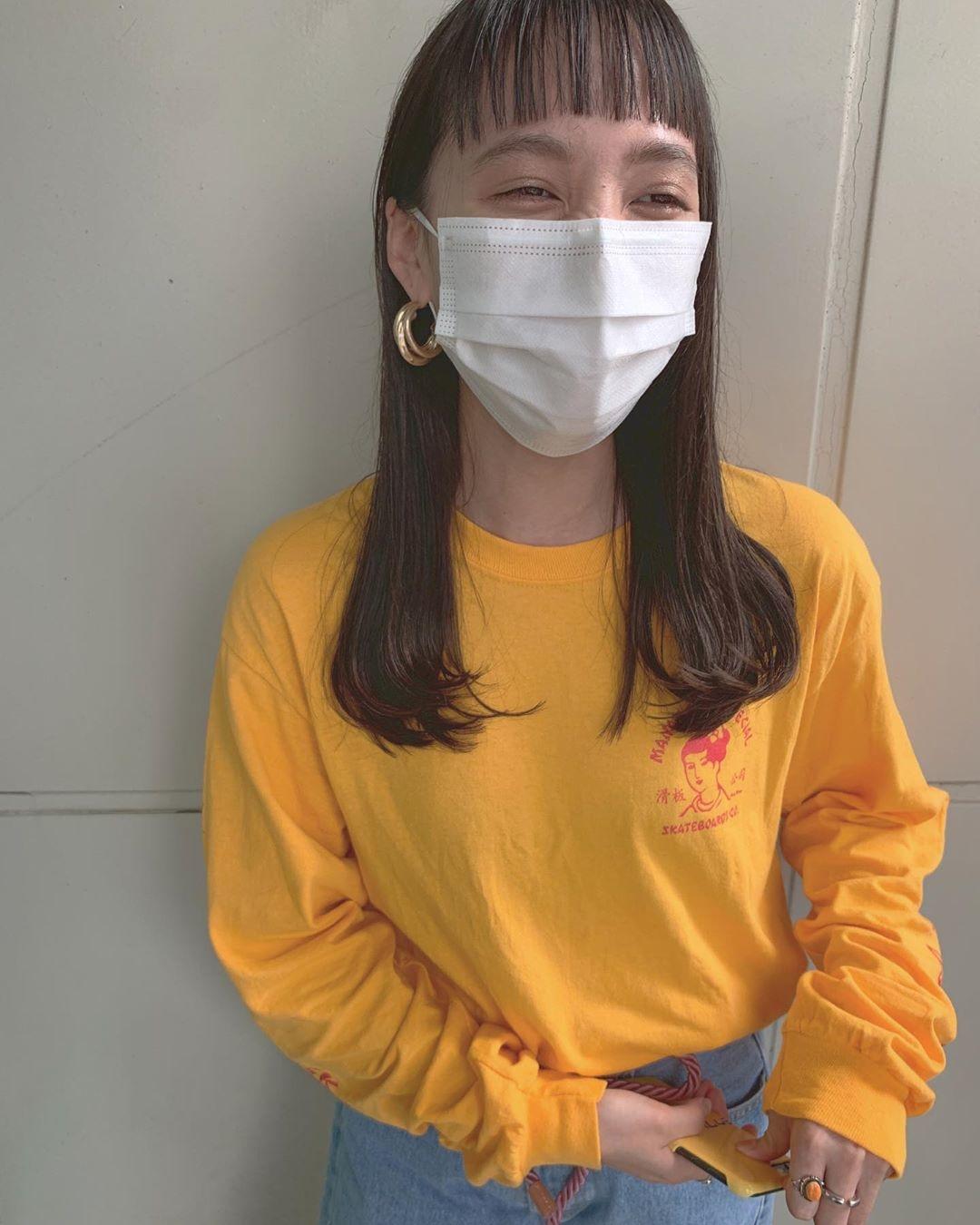 ロングヘア×オン眉