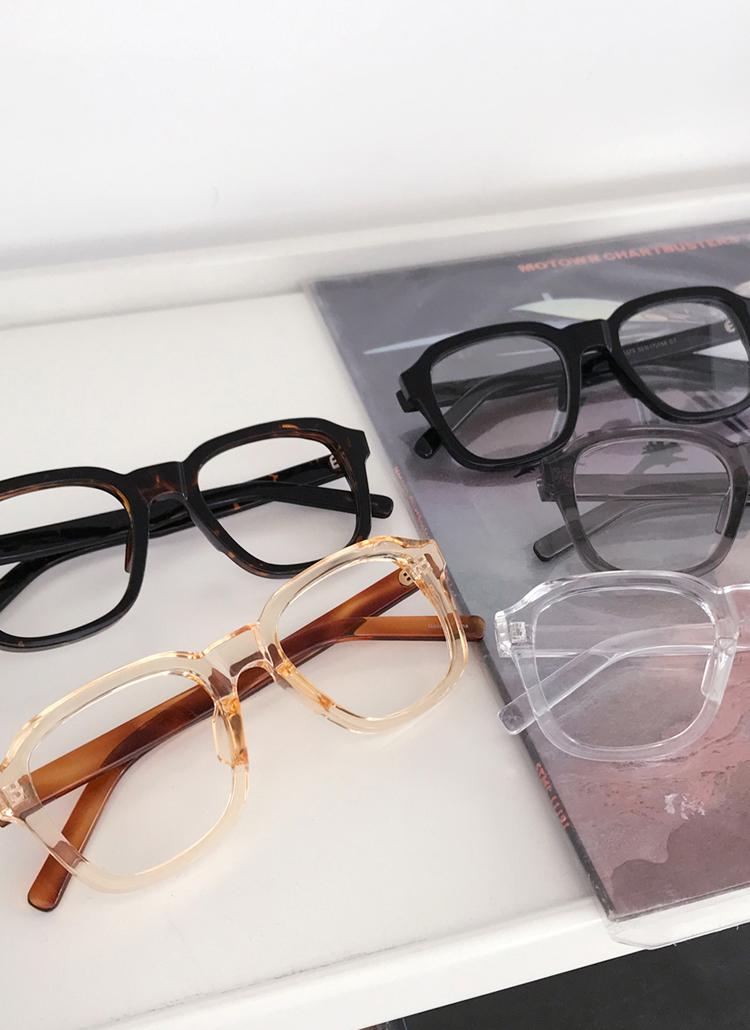 UV400スクエアボールドフレームメガネ
