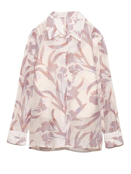 シースルー花柄レイヤードシャツ