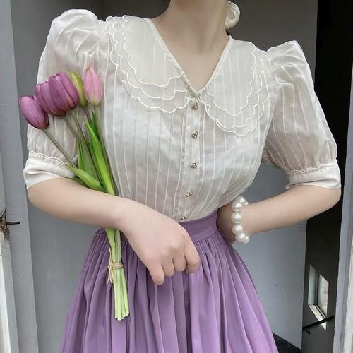 sheer flower collar blouse