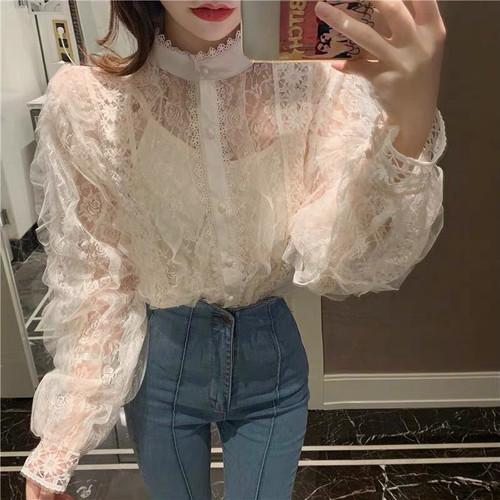 flower see-through blouse