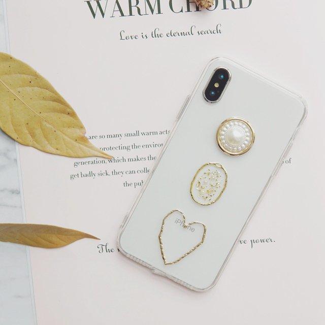 真珠ハートハンドメイドiPhoneケース