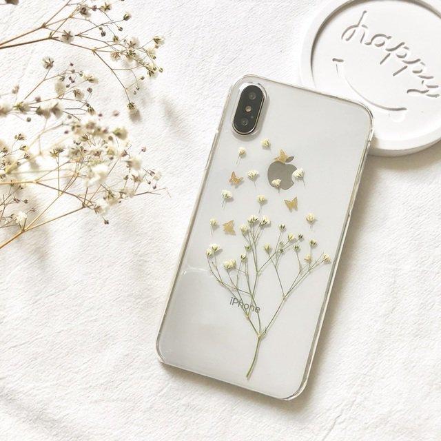蝶々と白のかすみ草 iPhoneケース