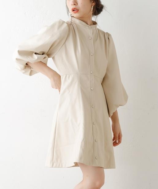 レザーバルーン裾ミニワンピース
