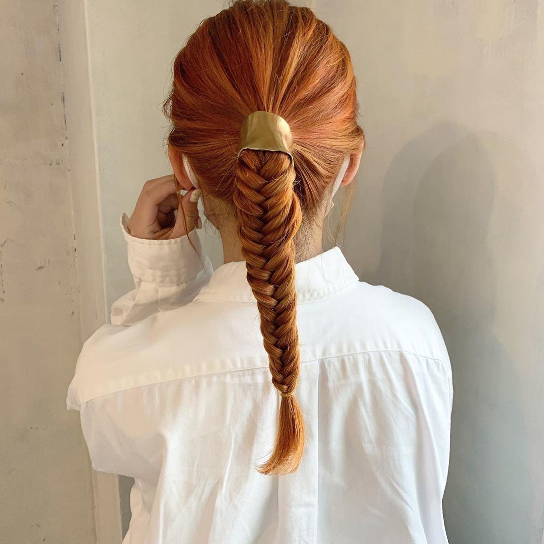 :三つ編みアレンジ×ヘアピアス