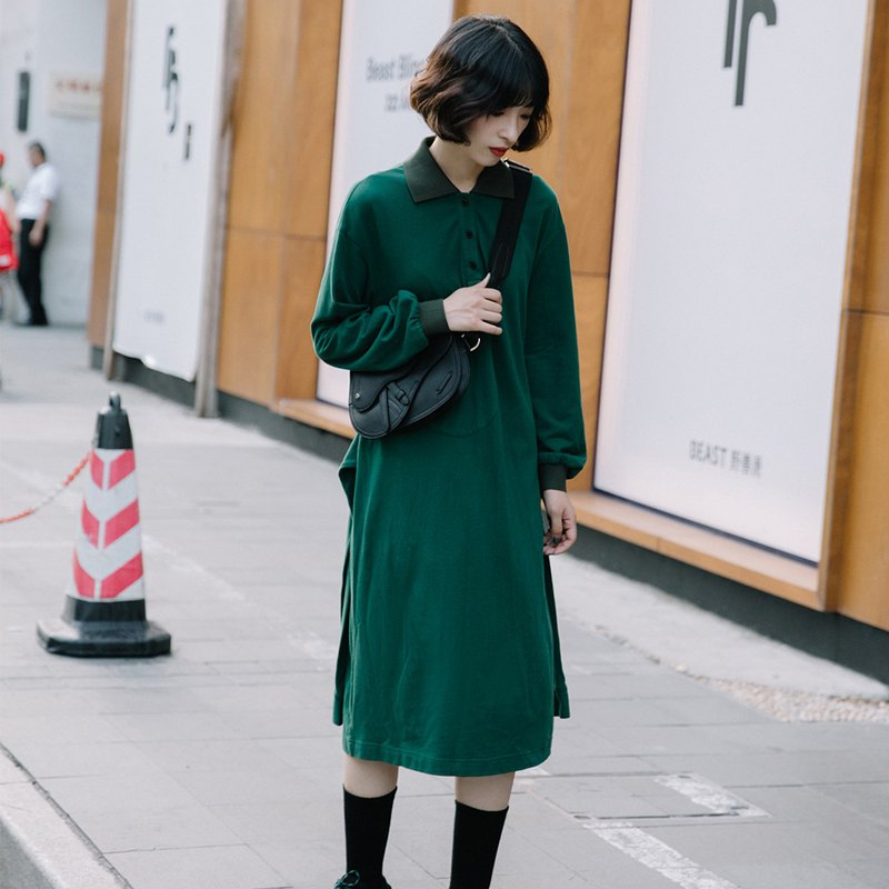 French simple lapel sweater dress - green