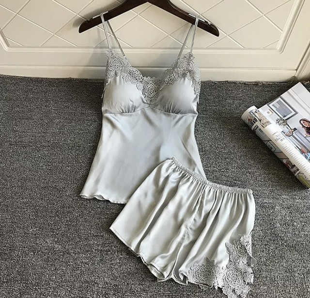 sexy design with satin camisole room wear setup