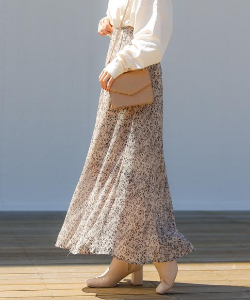 小花柄単色スカート