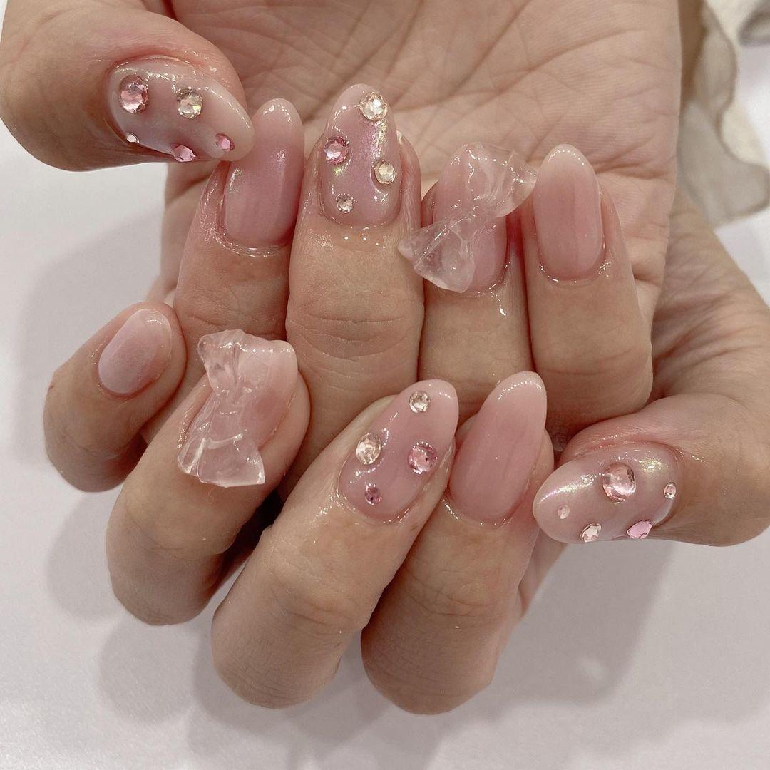 ▷|pink nail
