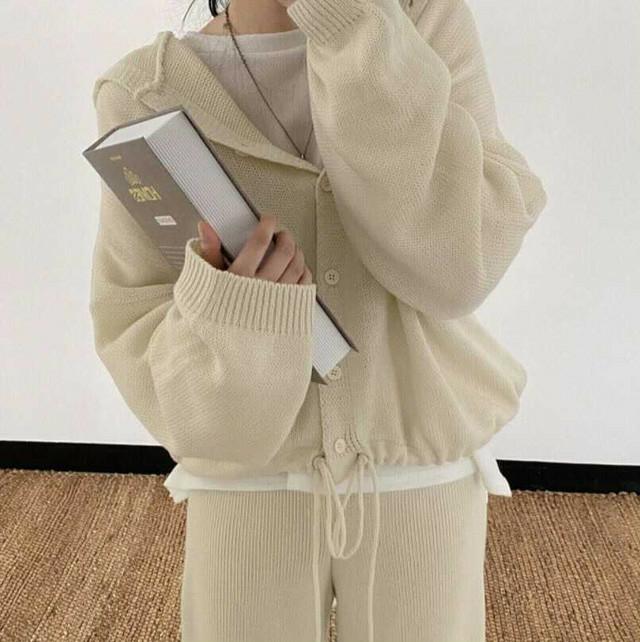 knit cardigan + lib knit pants