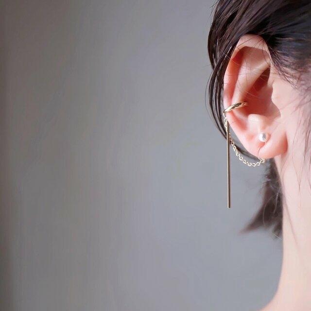 片耳イヤーカフのシンプルパールピアス*イヤリング