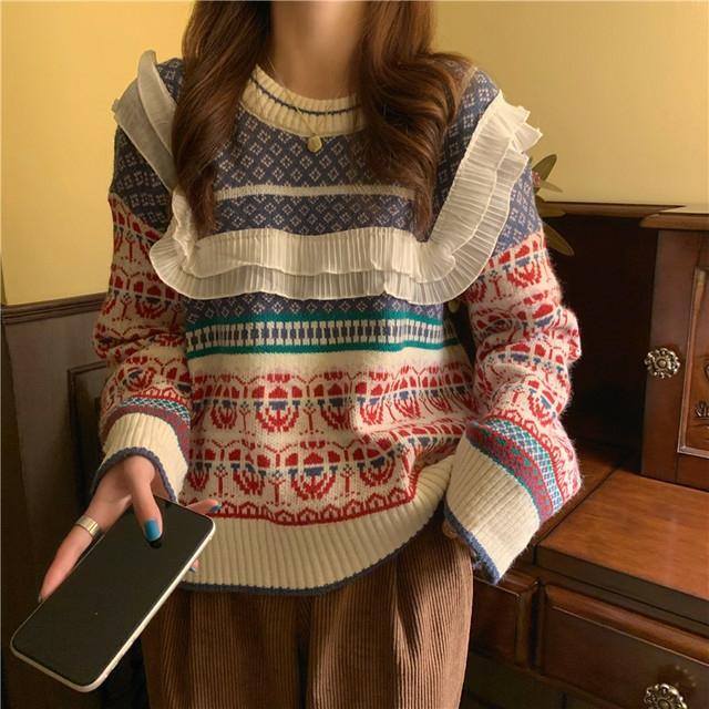 antique frill blue knit
