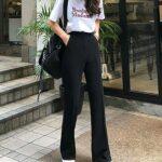 黒パンツで、オシャレgirlに。1本持っておくと便利な韓国風スリムパンツの合わせ方