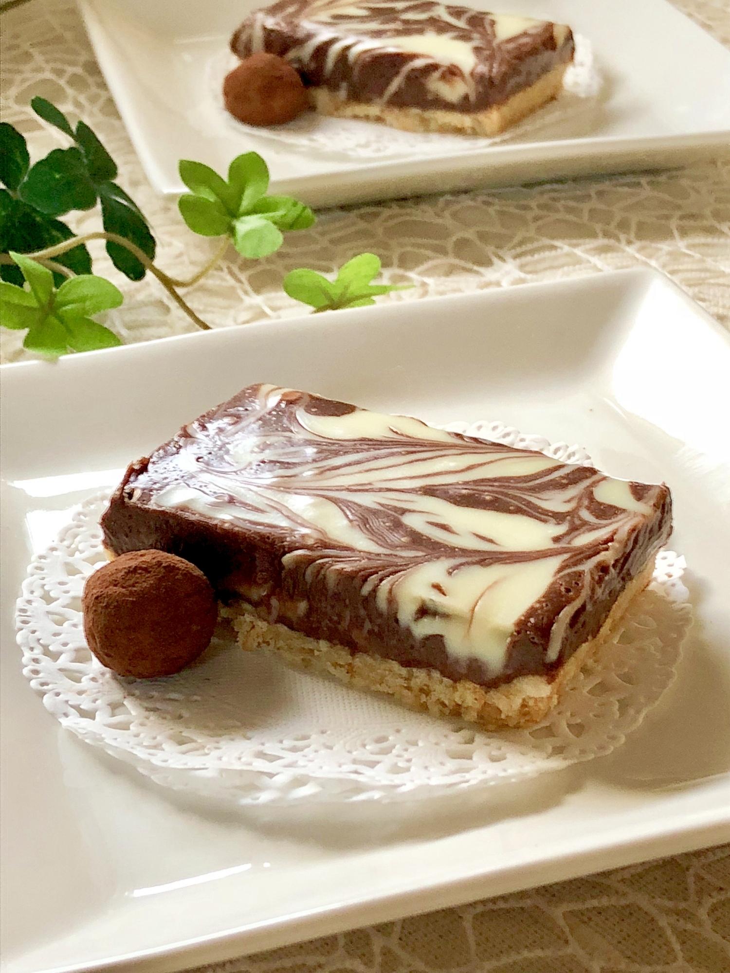 バレンタインに♡マーブル模様の生チョコタルト