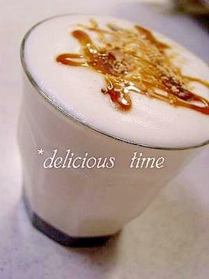 おうちカフェ♪黒蜜きな粉豆乳ラテ。