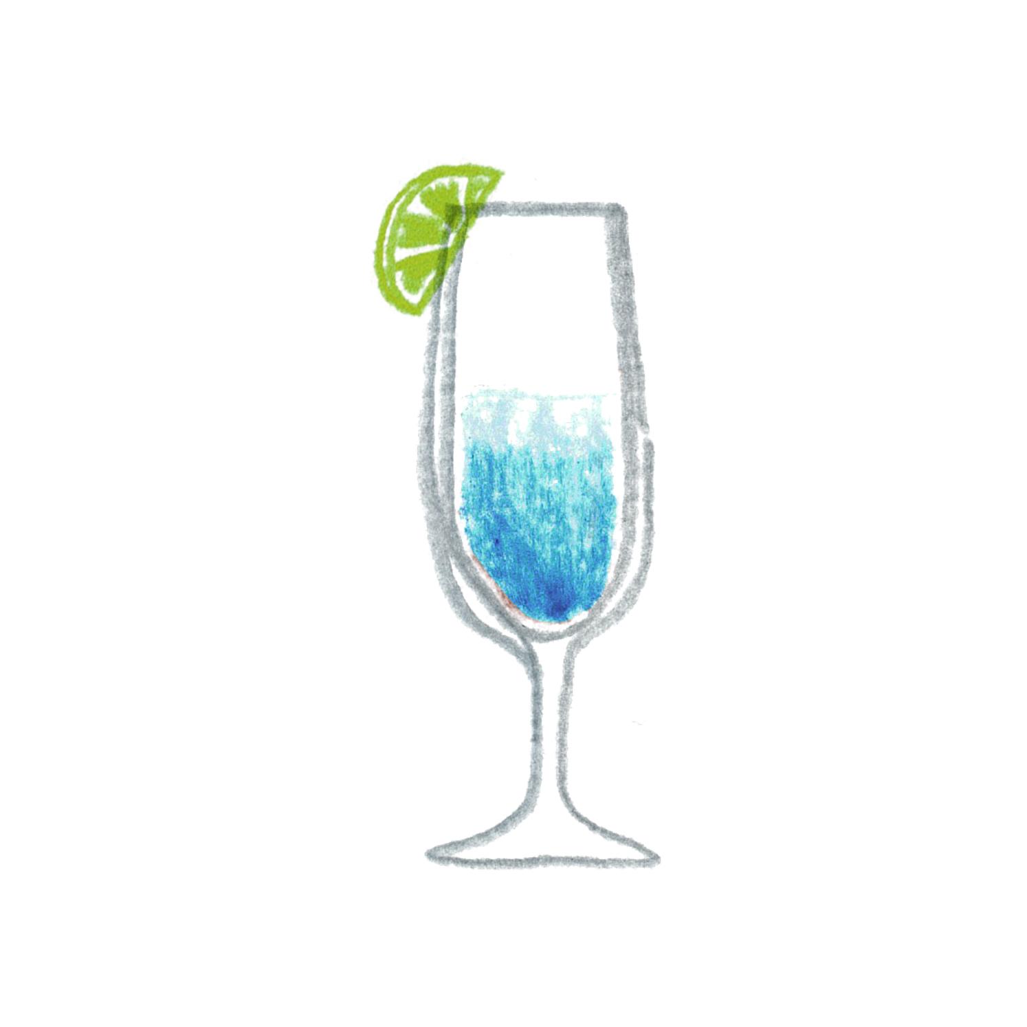 B:青い色のカクテル