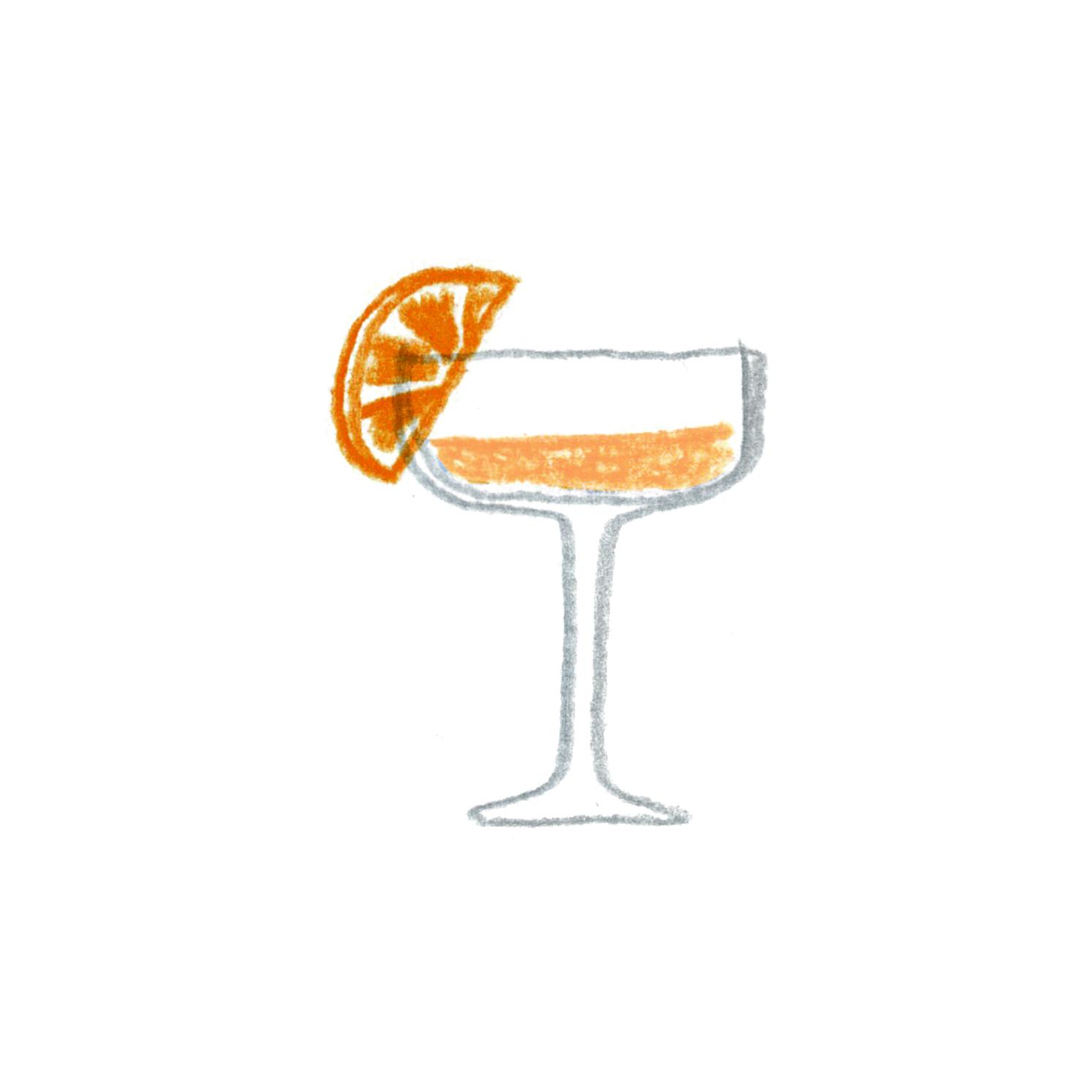 C:オレンジ色のカクテル