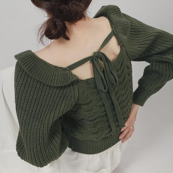 shoulder frill back ribbon knit