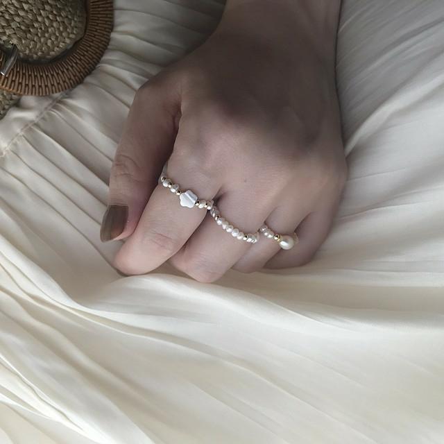 かわいいパールの指輪