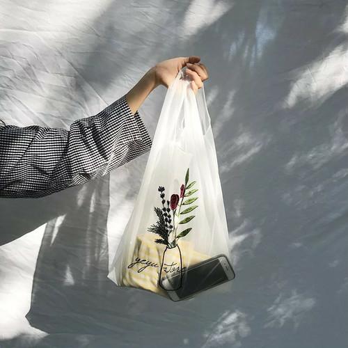 Flower刺繍オーガンジーシースルーエコバッグ