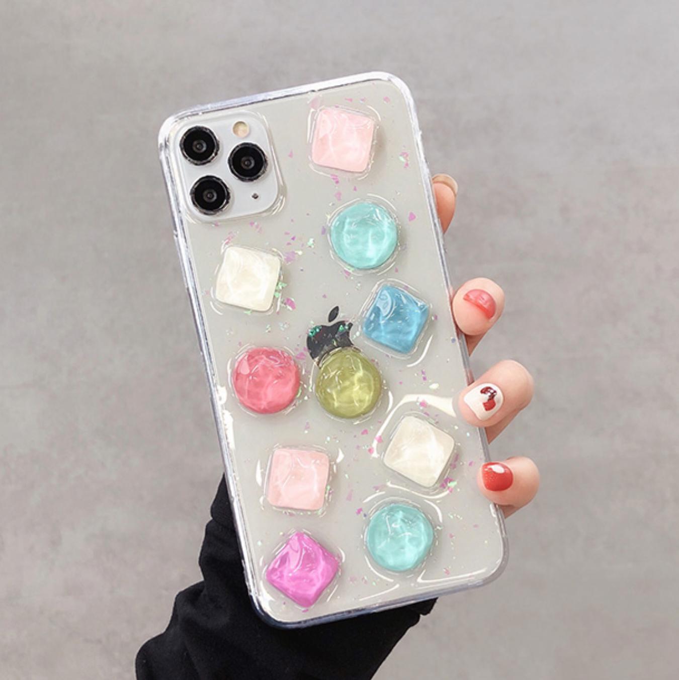 iPhoneケース カラーストーン