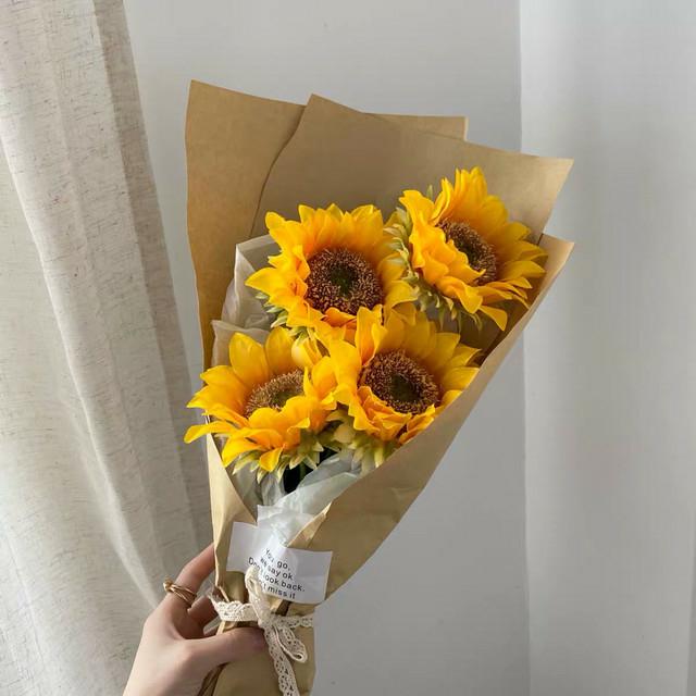 造花 向日葵2本花束