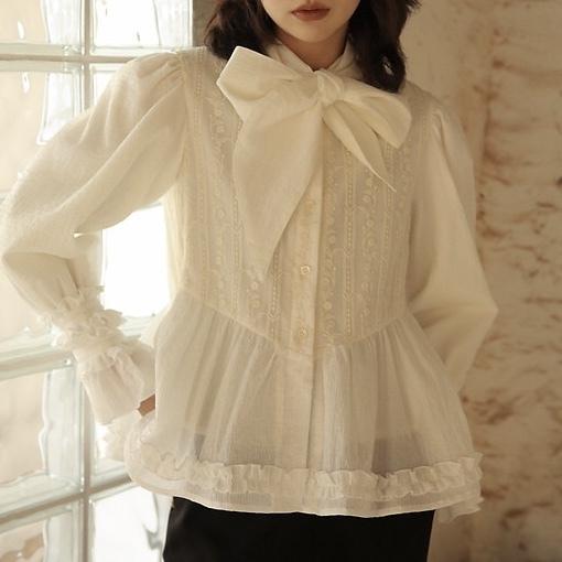 embroidery sheer tie peplum blouse