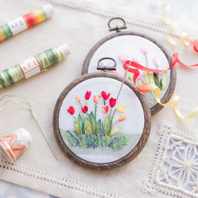赤と黄色のチューリップの花刺繍の製作キット