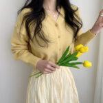 1アイテムだけ変えて、心おどる春を添える。「m.about」の春色パレットコーデ