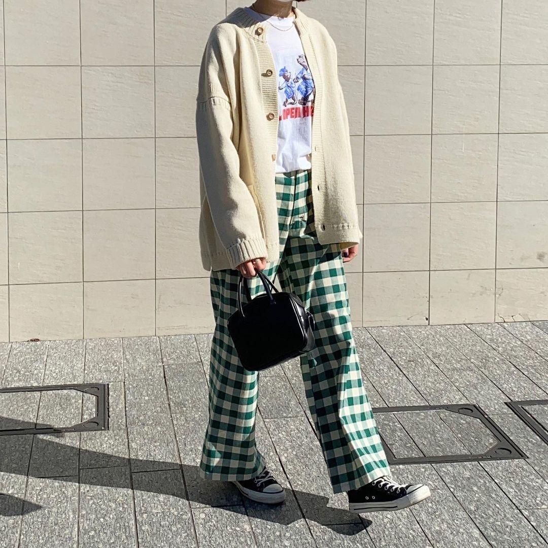 春夏のチェック柄にノックダウン。パンツorスカートの真似したくなるお手本コーデ