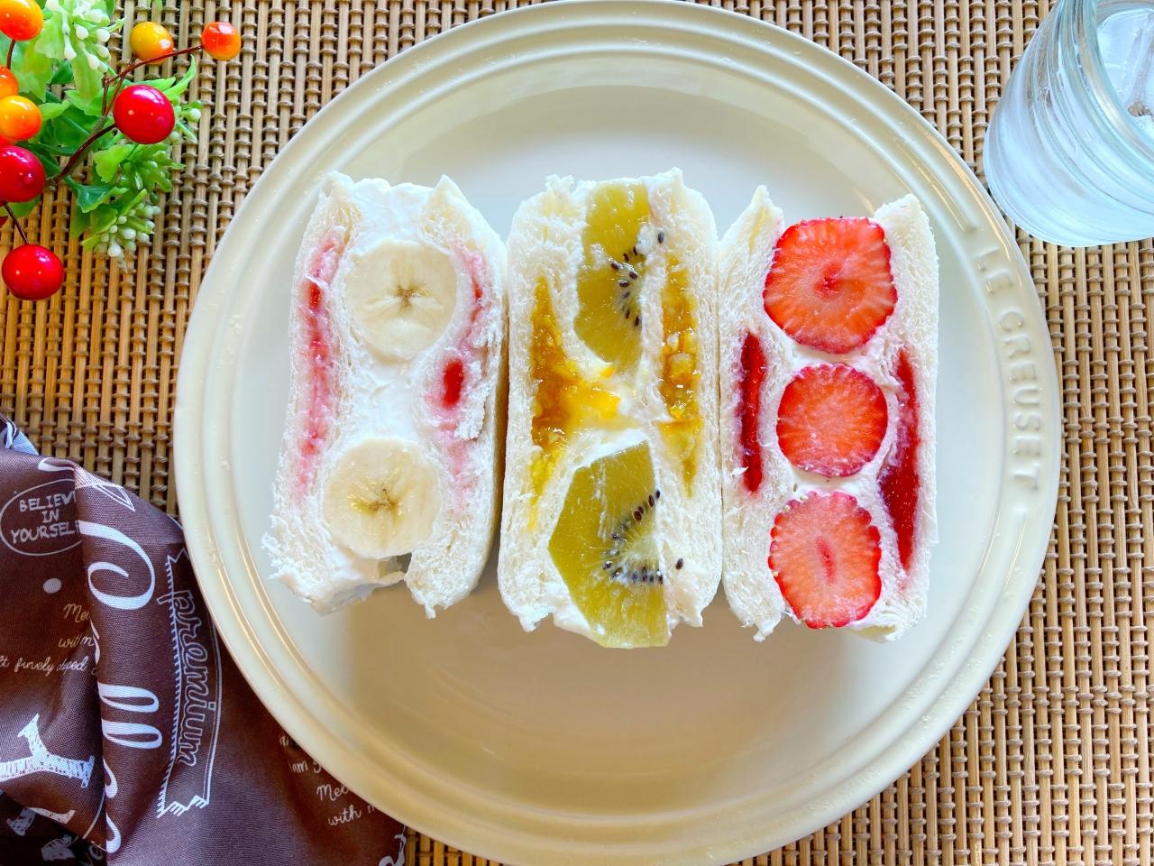 ランチパックで作るフルーツサンド3種類