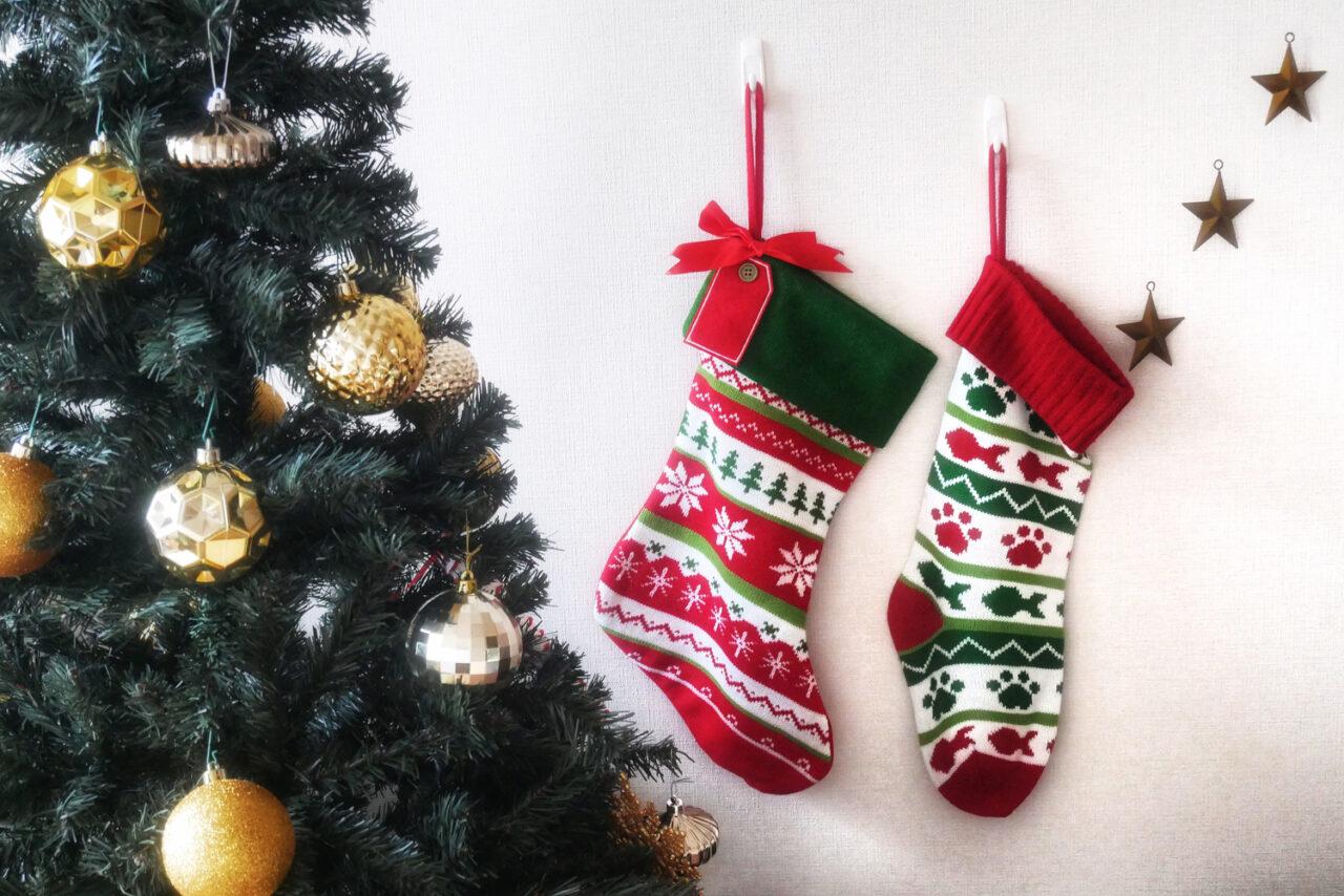 クリスマスツリーの横に壁に靴下が2枚ぶら下がっている