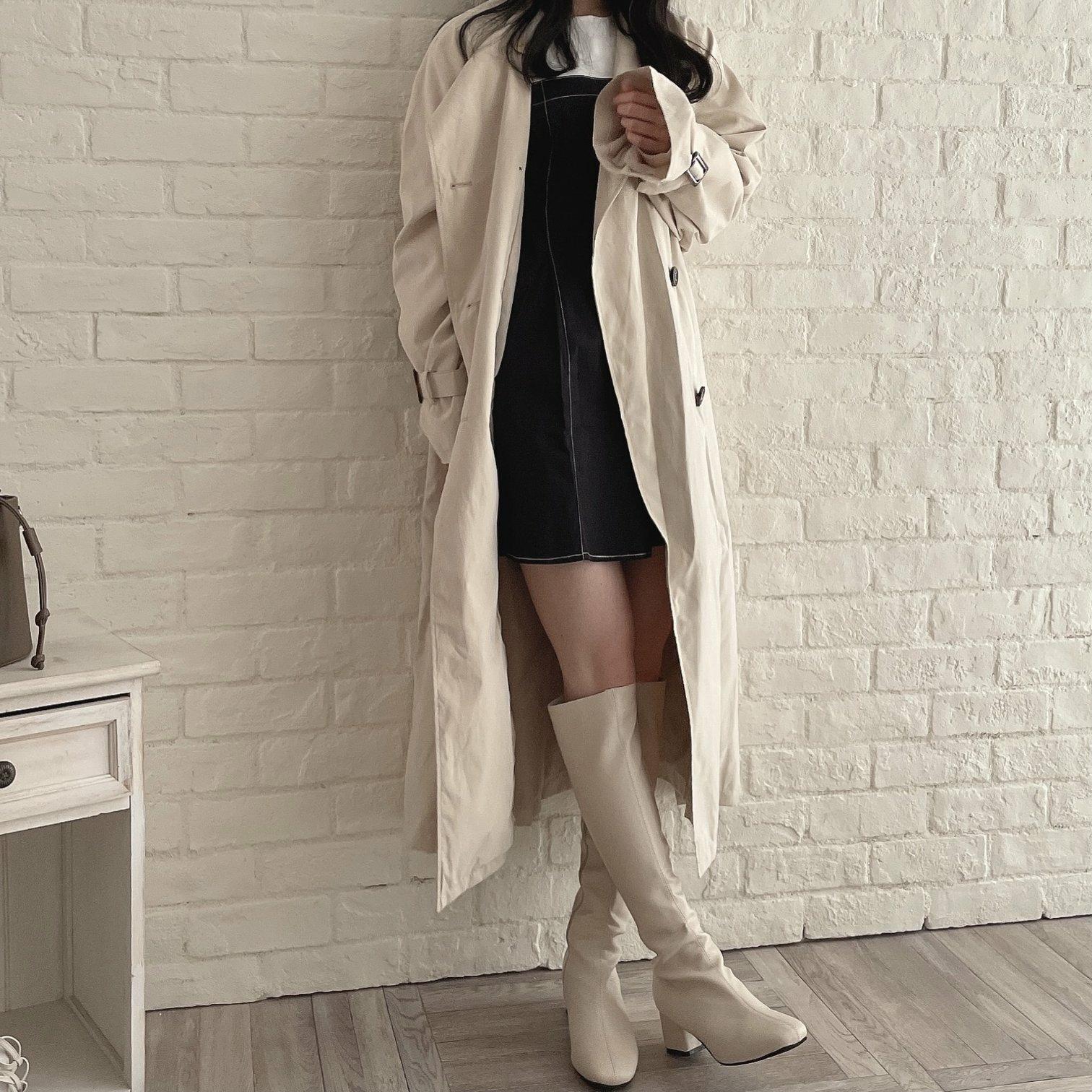 collarless big trench coat