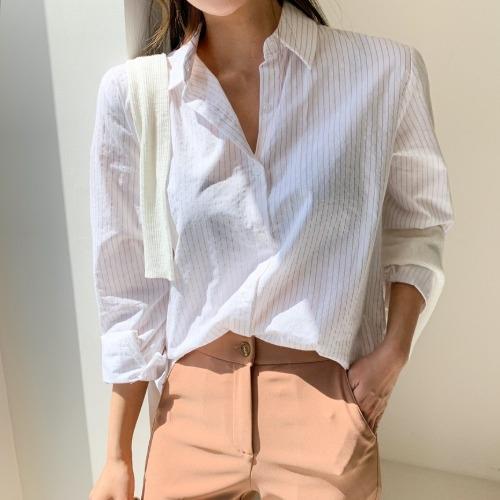 ピンストライプソフトコットンシャツ