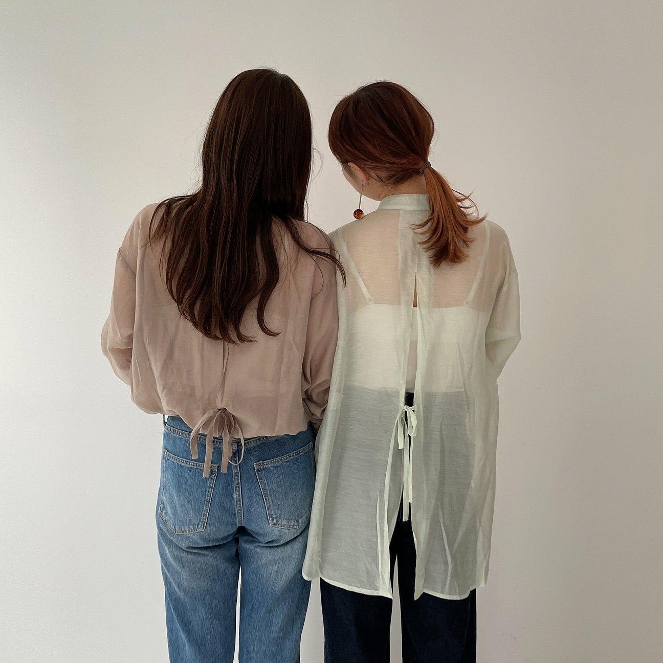 back slit sheer blouse