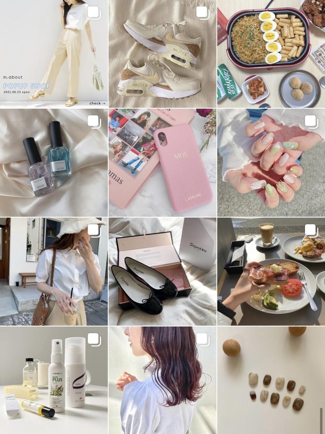 Instagramのホーム画面