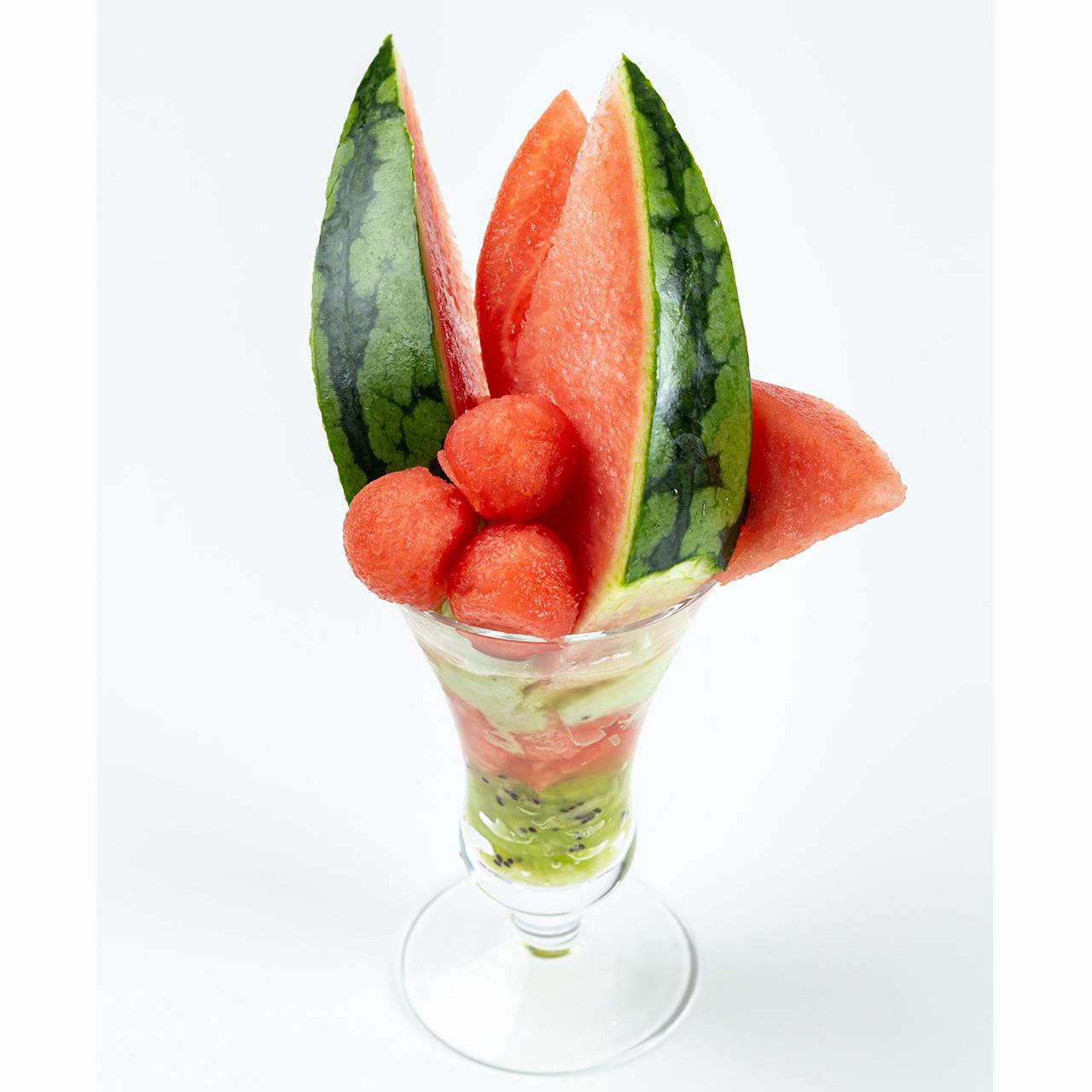 フルーツピークス(fruitspeaks)の「薮塚(やぶづか)こだま西瓜(すいか)のパフェ」