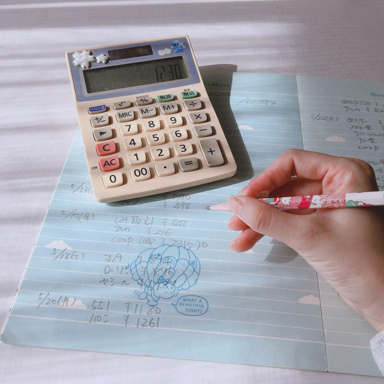 家計簿をつける女性の手