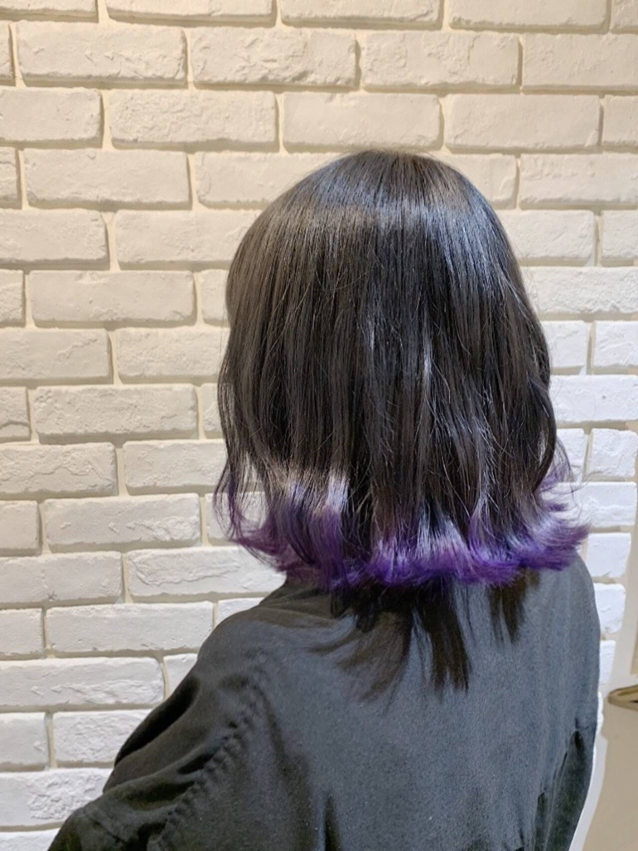 黒髪パープルグラデーションスタイル