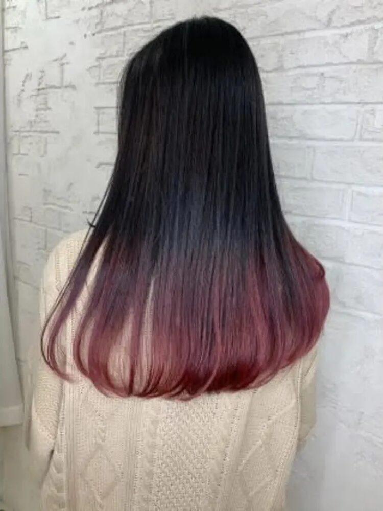 黒髪ピンクグラデーションスタイル